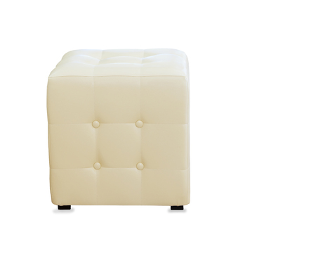pouf: Beige pouf ottoman isolated over white
