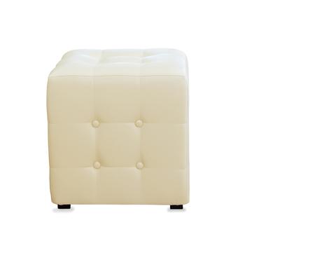 arredamento classico: Beige pouf ottoman isolated over white