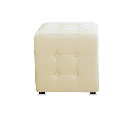 hassock: Beige pouf ottoman isolated over white