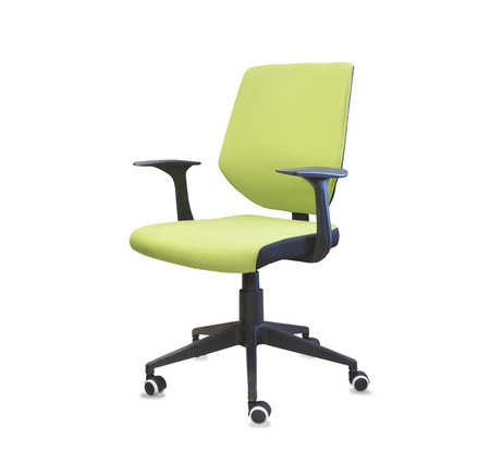 mode made: Modern office chair from green cloth over white
