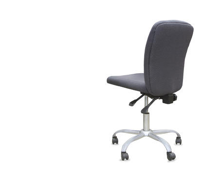 elbow chair: back view of modern office chair from gray cloth. Isolated