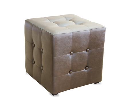 hassock: Brown pouf ottoman isolated over white