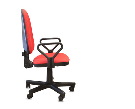 elbow chair: Modern office chair from red cloth. Isolated