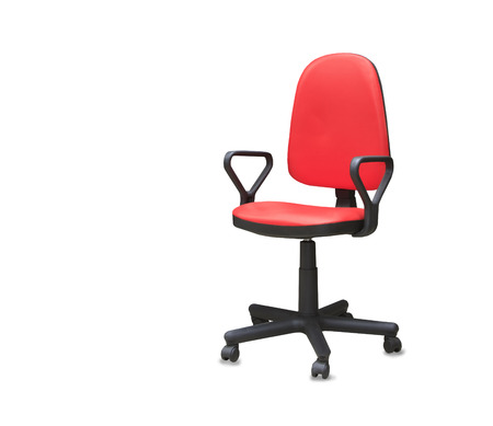 mode made: Modern office chair from red cloth. Isolated