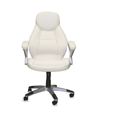 mode made: Office chair from white leather isolated Stock Photo