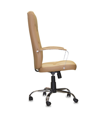 elbow chair: The office chair from brown leather. Isolated
