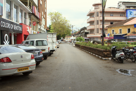 Goa, India - March 01, 2015: Mahatma Gandi Road in Panjim city Editorial