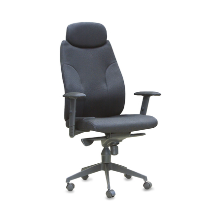 elbow chair: The office chair from black cloth. Isolated