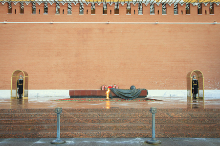 Moscow, Russian Federation - February 05, 2016: Eternal flame at the tomb of the Unknown Soldier in the Alexander Garden