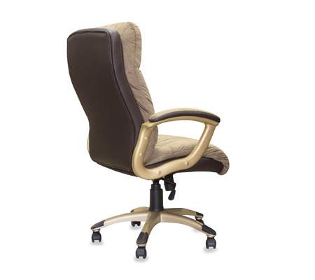 elbow chair: back view of modern office chair from brown cloth. Isolated Stock Photo