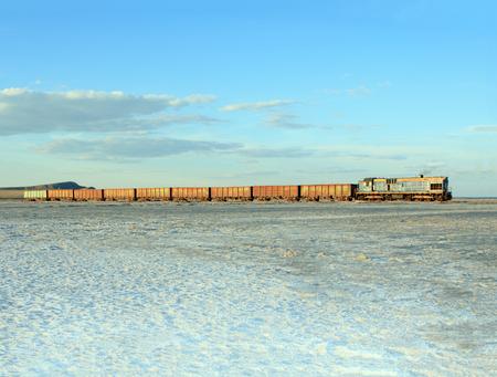 salinity: Russian Federation, Baskunchak - 23 August, 2015: Old rusty train on the salt lake Baskunchak Editorial