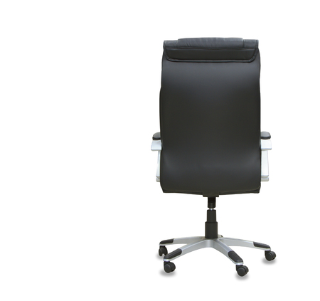 elbow chair: back view of modern office chair from black leather. Isolated