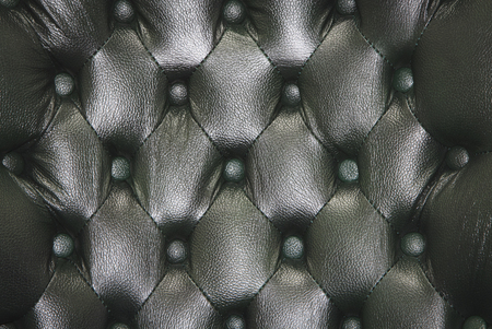 buttoned: Genuine leather upholstery background for a luxury decoration in black tones Stock Photo