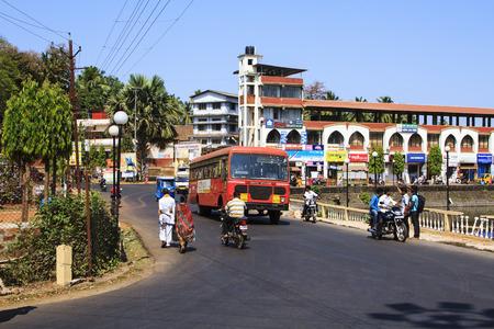 kolkata: Maharashtra, India - February 13, 2016: Sawantwadi city with big traffic