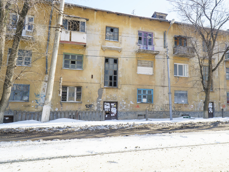 Volgograd, Russian Federation - February 17, 2017: Evicted terrible old house for demolition Editorial