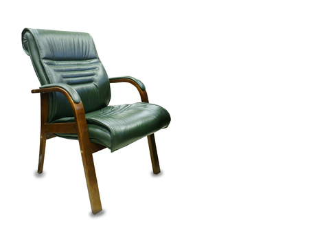 The office chair from green leather. Isolated