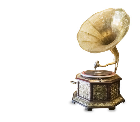 Old retro gramophone isolated over white