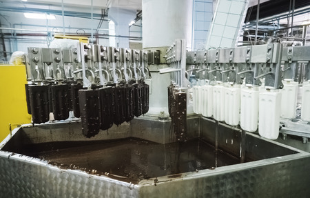 The conveyor automatic lines for the production of ice cream 免版税图像