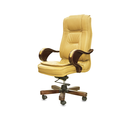 The office chair from yellow leather. Isolated Stock fotó