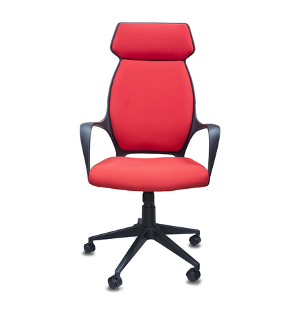 The office chair from red cloth. Isolated over white