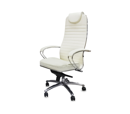 The office chair from white leather. Isolated