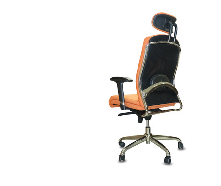 The back view of office chair from orange cloth. Isolated