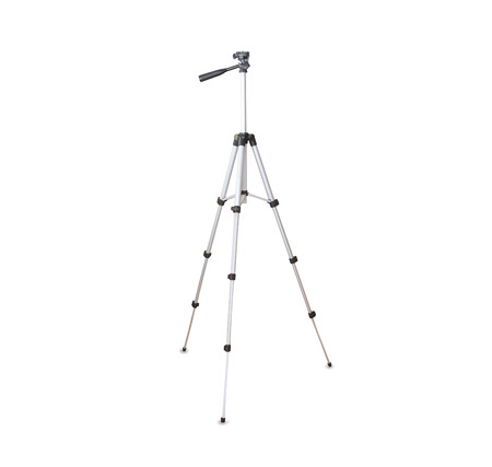 Modern silver tripod isolated over white 版權商用圖片