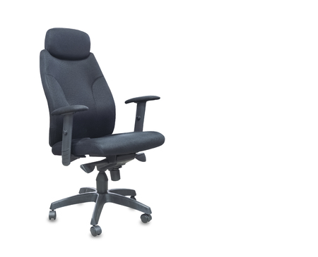 The office chair from black cloth. Isolated