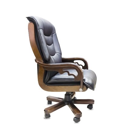 The office chair from black leather. Isolated over white