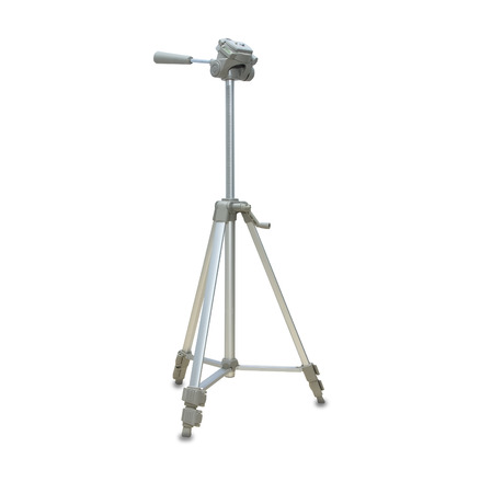 Modern silver tripod isolated over white 免版税图像