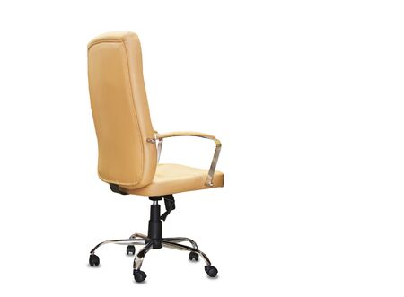 The back view of office chair from black leather. Isolated Stock fotó