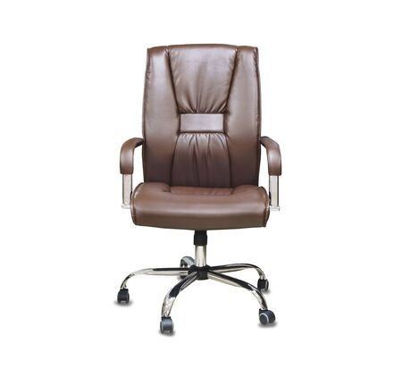 The office chair from brown leather. Isolated over white