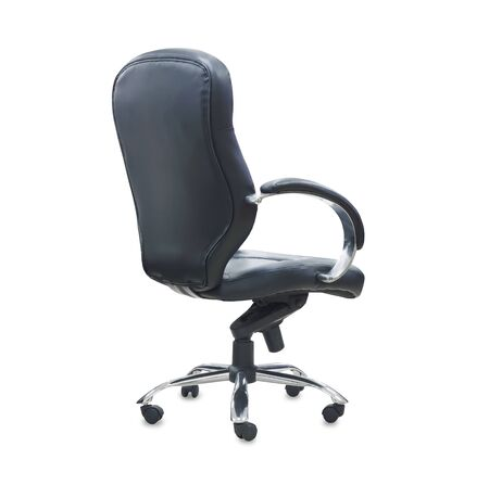 The back view of office chair from black leather. Isolated Imagens