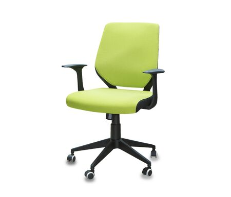 The office chair from green cloth. Isolated over white