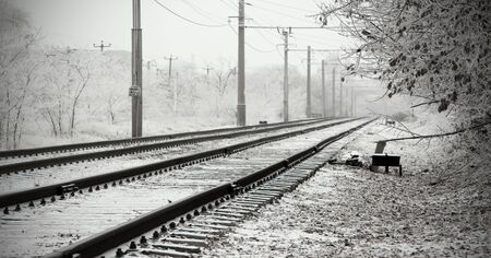 Urban Railroad at winter day Imagens