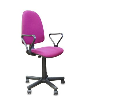 The office chair from pink cloth. Isolated over white Imagens