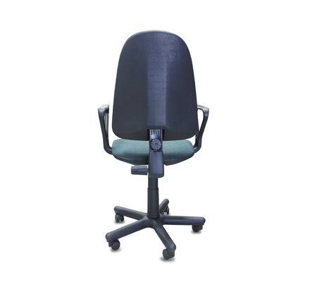 The back view of office chair from green cloth. Isolated