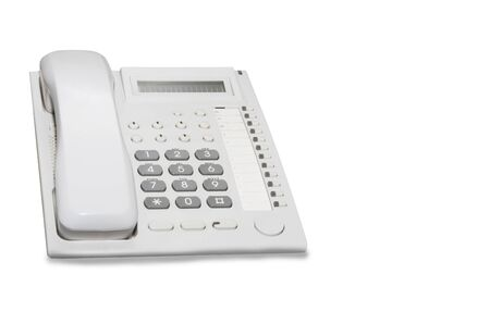 Office table phone isolated over white Imagens