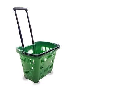 Empty shopping green basket isolated on white background