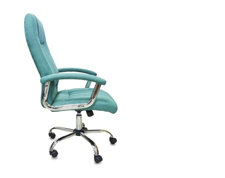 The profile view of office chair from green cloth. Isolated