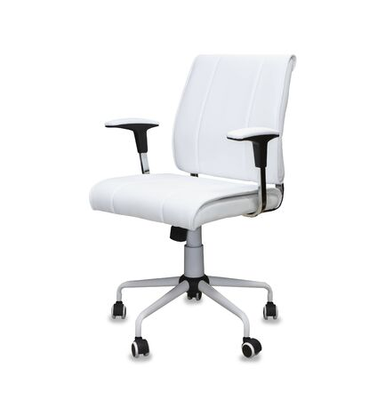 The office chair from white leather. Isolated over white Imagens