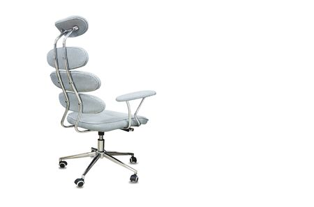The back view of office chair from gray cloth isolated over white