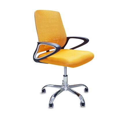 The office chair from orange cloth. Isolated over white Imagens