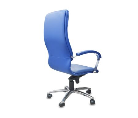 The backe view of office chair from blue leather. Isolated over white