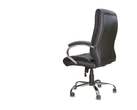 Back view of office chair from black leather. Isolated Imagens