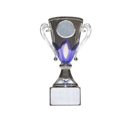 Silver trophy goblet isolated on white background Imagens