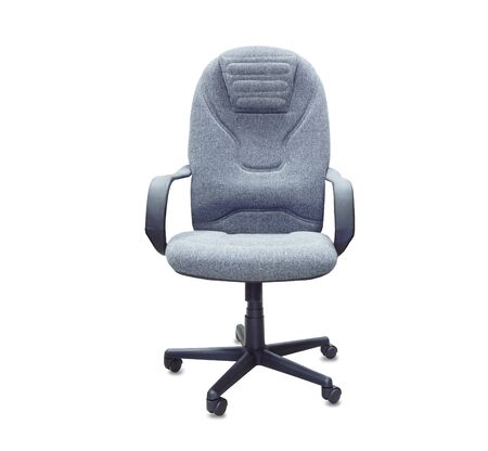 The office chair from gray cloth. Isolated over white Imagens