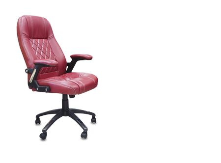 The office chair from red leather. Isolated over white