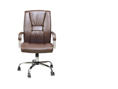 The office chair from brown leather. Isolated over white  Imagens