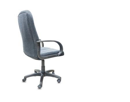 The back view of office chair from black cloth. Isolated Imagens